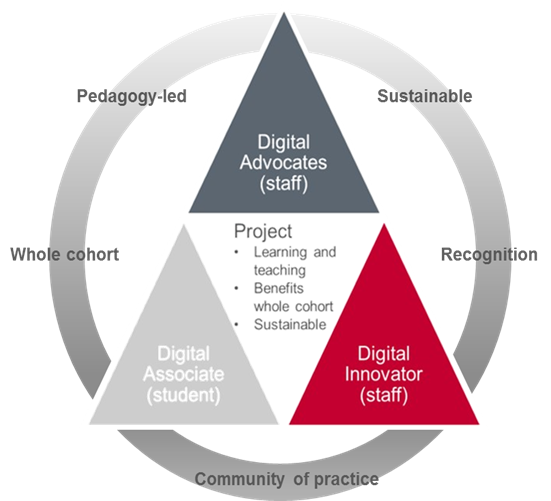 Pyramid showing the connection between Digital Associate, Digital Innovator and Digital Advocate. In the centre are the project criteria of focused on learning and teaching, benefits whole cohort, and sustainable. Encircling the pyramid are the additional aims of recognition and forming a community of practice.