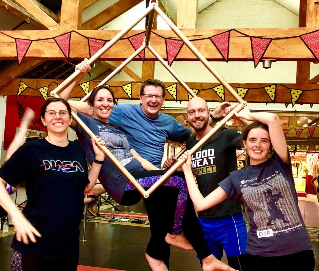Estefania, Alex, Phil, Mark and Beth enjoying time out with aerial acrobatics.
